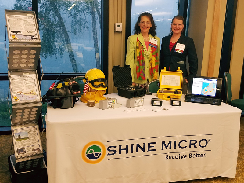 Carol Robinson at Stephanie Nevarez represent Shine Micro at the PNDC Aerospace and Defense Symposium, May 4, 2017